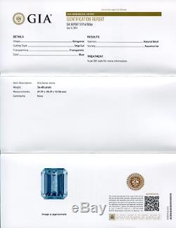 36.48 ct GIA Certified Aquamarine