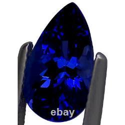 4.11 Ct GIA Certified AAAA Natural D Block Tanzanite Blue Violet Pear Cut