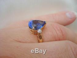 4.41ct Lorique Certified Deep Blue AAA Tanzanite 18k Gold Collectors Ring