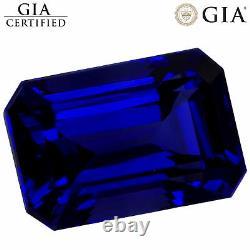 4.46 Ct GIA Certified AAAAAA Natural D Block Tanzanite Blue Violet Emerald Cut