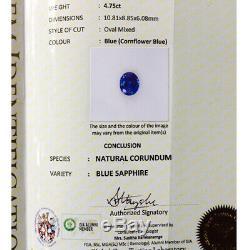 4.75 Cts Natural Blue Sapphire Certified Ceylon Cornflower Blue Sapphire VS1