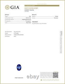 4.77 ct GIA CERTIFIED AAAA SUPER-EXCELLENT OVAL (12 X 9 MM) D'BLOCK TANZANITE