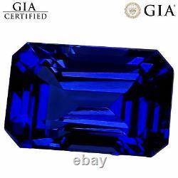 4.95 Ct GIA Certified AAAA+ Natural D Block Tanzanite Blue Violet Emerald Cut