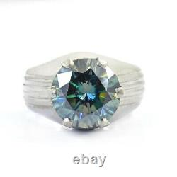4 Ct Certified, Blue Diamond Ring in Heavy Setting, Men's Ring, Great Shine