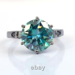 4 Ct Certified Blue Diamond Solitaire Ring In Black Gold, Great Brilliance