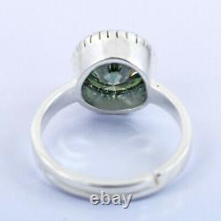 4 Ct Certified Natural Earth Mined Round Brilliant Cut Green Diamond Ring
