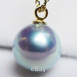 $400 Certified 18K 8mmUP Natural Real Akoya Pearl Pendant Japan Gift Necklace