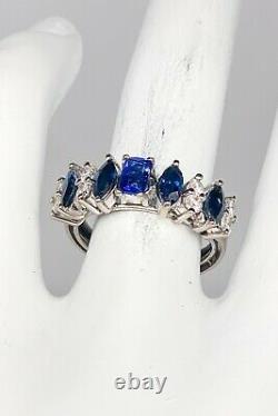 $4000 1.71ct Natural NO HEAT Certified Blue Sapphire Diamond 14k White Gold Ring