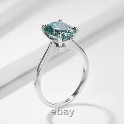 5.00 Ct Oval Blue Diamond Solitaire Ring, Certified AAA Quality. Earth mined