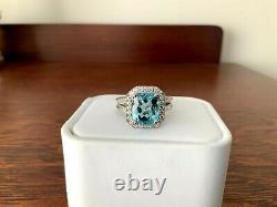 5.10 carat Natural Aquamarine and Diamond Ring GIA Certified
