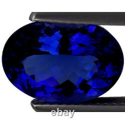 5.12 Ct GIA Certified AAAAA Natural D Block Tanzanite Blue Violet Oval Cut