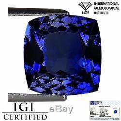 5.15 Ct IGI Certified AA+ Natural Tanzanite Gemstone Violet Blue Cushion Cut