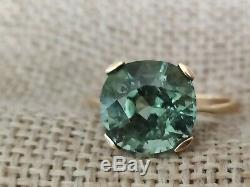 5.2ct Certified Natural Copper bearing blue green Paraiba tourmaline gold ring