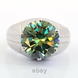 5.55 Ct Stunning Greenish Blue Diamond Ring in Heavy Setting. Certified. Genuine