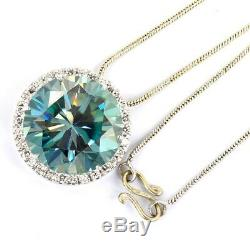 5.60 ct Certified Blue Diamond Pendant with White Sapphire Accents