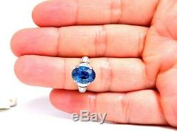 5.75ct GIA Certified Natural No Heat Blue Sapphire Ring 18 Karat Traditional