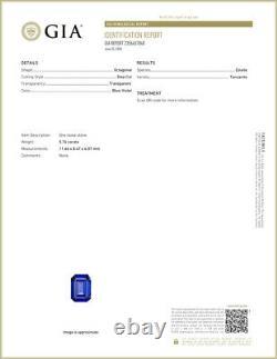 5.76 Ct GIA Certified AAAAA Natural D Block Tanzanite Blue Violet Emerald Cut