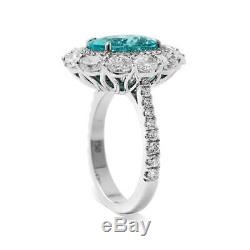 5.85Ct Natural Green Blue Mozambique Tourmaline Beautiful Ring GRS Certified New