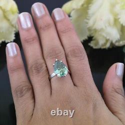 5 Carat, Pear Shape Blue Diamond Solitaire Ring. Certified. Brilliant Sparkle