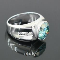 5 Ct Certified Designer Blue Diamond Solitaire Ring With White Diamond Accents
