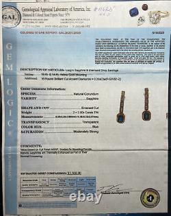 $5500 18K 14K Yellow Gold Emerald-cut Blue Sapphire Diamond Earrings Certified