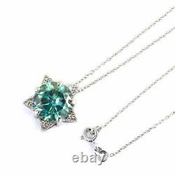 5Ct Certified Blue Diamond Solitaire Pendant With White Diamond Accents