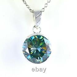 6.15 Ct Certified Round Brilliant Cut Blue Diamond Pendant -Excellent Luster