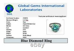 6.20 Ct AAA Certified Blue Diamond Solitaire Ring. Huge & Rare! Full of Fire