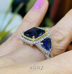 6.35 Ct GIA Certified Octagonal Tanzanite Diamond Engagement Ring 14k White Gold