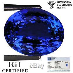 6.41 Ct IGI Certified AAA Natural D Block Tanzanite Blue Violet Color Oval Cut