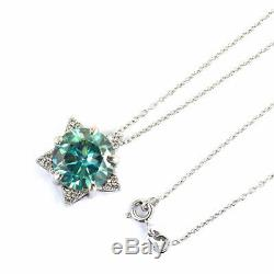 6.60Ct Certified Blue Diamond Solitaire Pendant With White Sapphire Accents