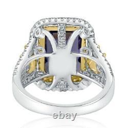 6 Carat GIA Certified Emerald Cut Halo Tanzanite Diamond Ring 14k White Gold