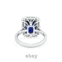 7.07 Ct Unheated Natural Vivid Blue Sapphire Ring 18K White Gold GRS Certified