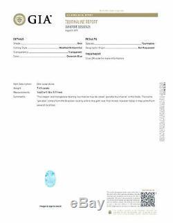 7.40Ct GIA Certified Oval cut 13 x 11mm Brazil Greenish Blue Paraiba Tourmaline