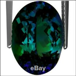 7.76 Ct GIA Certified AAAA Natural D Block Tanzanite Green Blue Oval Cut