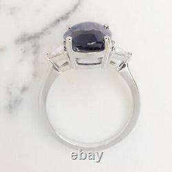 7 Carat Gia Certified Sapphire Diamond Ring Royal Blue Oval Shape Trillion Cut