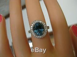 70% Off Certified 7.81 Ct Diamond Blu Zircon Ring 14kt Gold Halo Ring