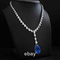 74.80 Ct Natural Vivid Blue Sapphire Necklace Pear Cut 18K White Gold Certified