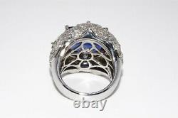 $75,000 12.56ct Agl Certified Natural No Heat Ceylon Sapphire & Diamond Ring 14k