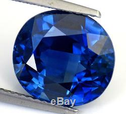 8.46 Cts Certified LGC Rare Huge Oval Rich Vivid Blue Sapphire Kanchanaburi VVS