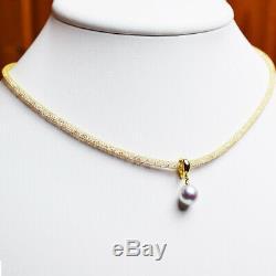 $800 Certified 18K 8mmUP Natural Blue Pearl Necklace Pendant Akoya Pearl Japan