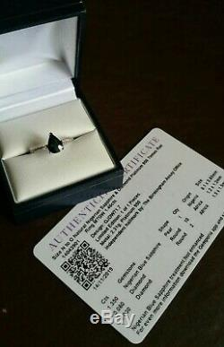 950 platinum Certified UNTREATED NATURAL blue Sapphire & Diamond ring. N-O. NEW