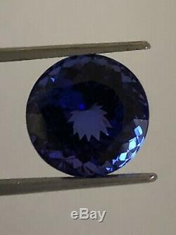 A Certified & Intense Blue Museum Grade 7.37 Ct Round Brilliant Cut Tanzanite