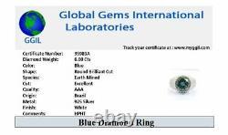 AAA Certified 6 Ct, Blue Diamond Solitaire Designer Ring! Certified Diamond