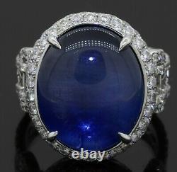 AGL certified 18k WG 19.47ct VS diamond NO HEAT Burma NATURAL star sapphire ring
