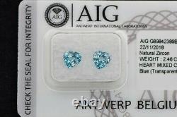 AIG Antwerp Certified 2.46 ct VS Heart Natural Blue Zircon Pair