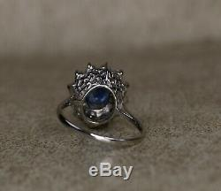 AIG Certified 2.61ct Sapphire VS Diamond 14ct White Gold Engagement Ring
