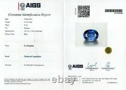 AIGS CERTIFIEDHuge Rare! 20.18ct VS Natural Blue Sapphire Unheated SRI LANKA