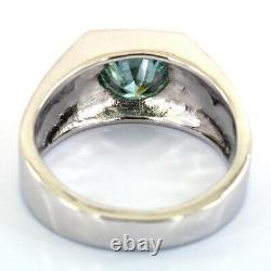 Amazing 2 Ct Certified Light Blue Diamond Solitaire Ring, Unisex Band Design