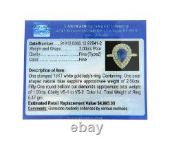Amazing Pear Sapphire and 1.0 CTW VS Diamond Double Halo Ring in 18K, Certified